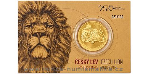 Zlatá uncová investiční mince Český lev 2018, číslováno