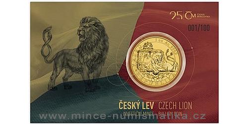 Zlatá uncová investiční mince Český lev 2018 reverse proof, číslováno