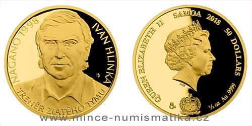Zlatá půluncová mince Ivan Hlinka čísl. certifikát