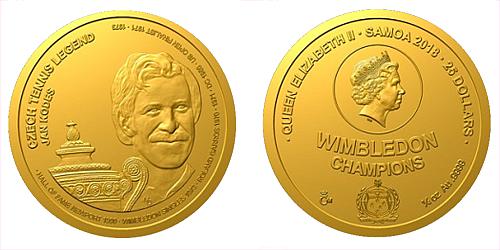 Zlatá čtvrtuncová mince České tenisové legendy - Jan Kodeš