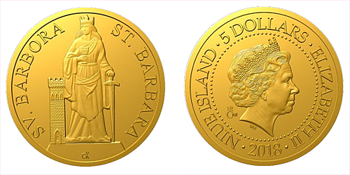 Zlatá mince Patroni - Svatá Barbora