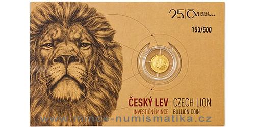 Zlatá 1/25 oz investiční mince Český lev 2018, číslovaný obal