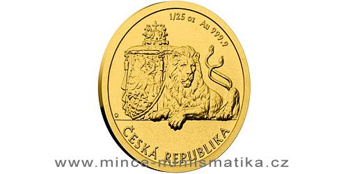 Zlatá 1/25 oz investiční mince Český lev 2018