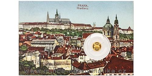 Zlatá mince Vydání první Československé známky