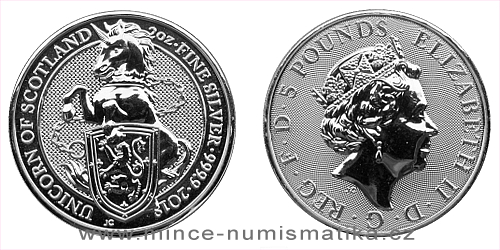 2018 - 5 £ Velká Británie - The Queen's Beasts The Unicorn 2 Oz