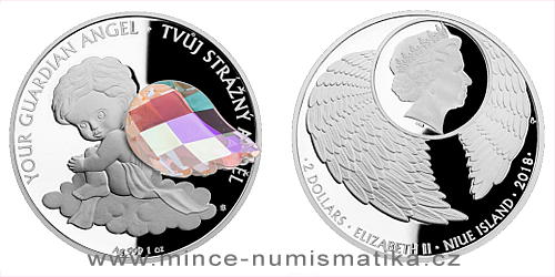 Stříbrná mince Crystal Coin - Anděl strážný - crystal AB
