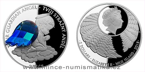 Stříbrná mince Crystal Coin - Anděl strážný