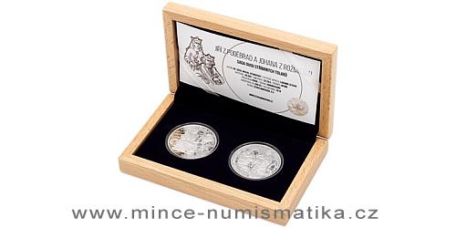 Sada dvou stříbrných tolarů Královské dvojice - Jiří z Poděbrad a Johana z Rožmitálu
