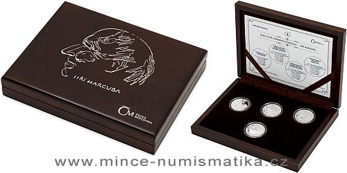 Sada stříbrných replik československých mincí a medaile Jiřího Harcuby