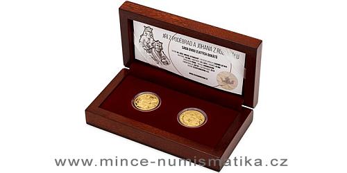 Sada dvou zlatých dukátů Královské dvojice - Jiří z Poděbrad a Johana z Rožmitálu