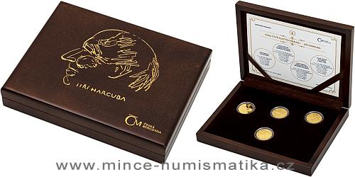 Sada zlatých replik československých mincí a medaile Jiřího Harcuby