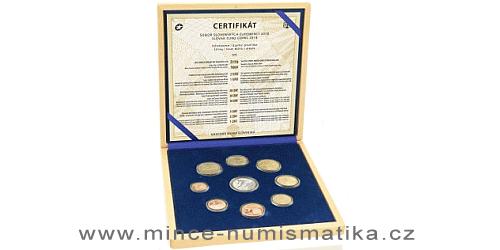 Sada oběžných mincí SR 2018 - XXIII. Zimné olympijské hry Pjongčang 2018 - PROOF like ve dřevě