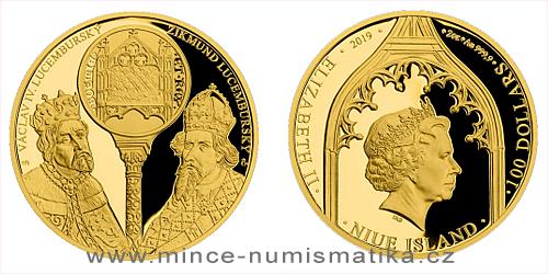 Zlatá dvouuncová mince Václav IV. a Zikmund Lucemburský