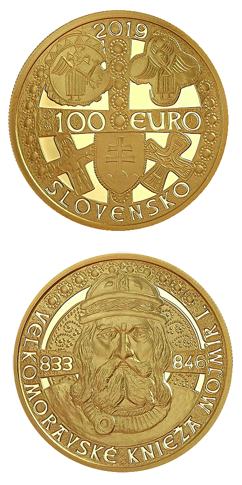 2019_100_euro_Velkomoravsky_knize_Mojmir_I._Au_mince