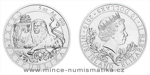 Stříbrná pětiuncová investiční mince Český lev 2019