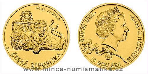 Zlatá 1/4 Oz investiční mince Český lev 2019