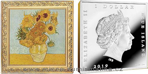 2019 - 1 NZD Vincent Van Gogh - Sunflowers / Slunečnice