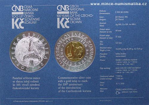 2019_2000_Kc_Ceskoslovenska_koruna_Au_Ag_standard_certifikat