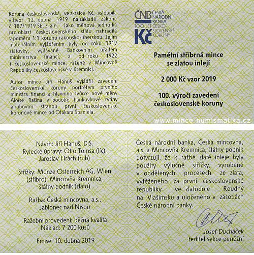 2019_2000_Kc_Ceskoslovenska_koruna_Au_Ag_standard_certifikat_2