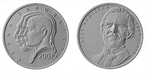 200 Kč - 150. výročí narození - Aleš Hrdlička