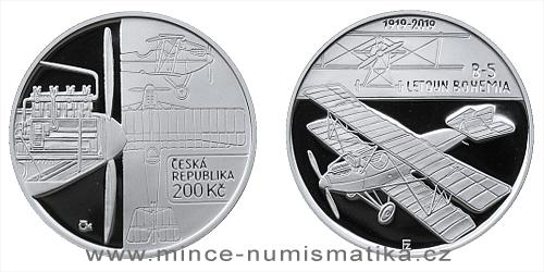 200 Kč - 100. výročí Sestrojení prvního letadla české výroby Bohemia B-5