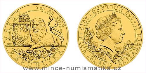 Zlatá pětiuncová investiční mince Český lev 2019