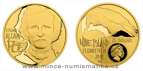 Zlatá půluncová mince E. A. Poe