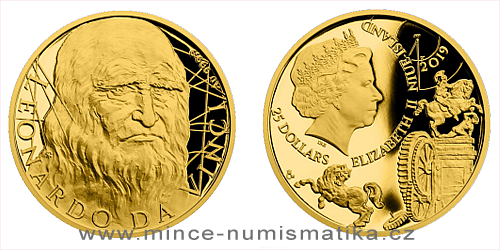 Zlatá půluncová mince Leonardo da Vinci