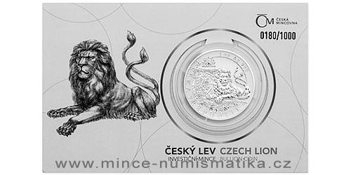 Stříbrná uncová investiční mince Český lev 2019 reverse proof číslovaný obal