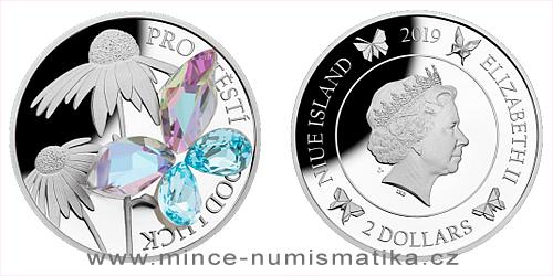 Stříbrná mince Crystal Coin - Pro štěstí 2019