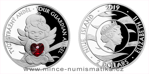 Stříbrná mince Crystal Coin - Anděl strážný se srdíčkem