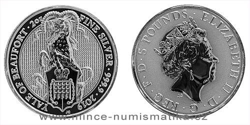 Stříbrná 2 Oz mince Queen's Beasts The Yale of Beaufort 2019 - 10 kusů (original balení v tubě)