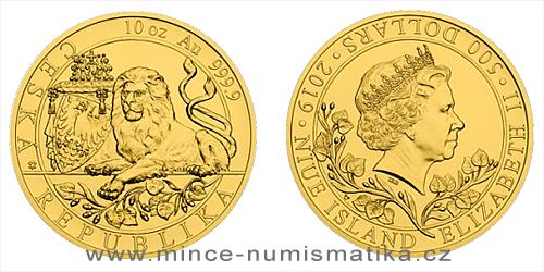 Zlatá desetiuncová investiční mince Český lev 2019