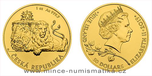 Zlatá uncová investiční mince Český lev 2019