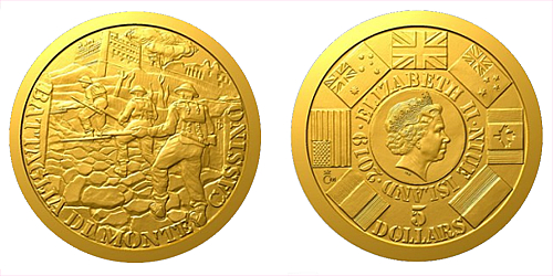 Zlatá mince Válečný rok 1944 - Bitva o Monte Cassino