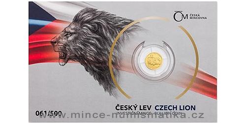 Zlatá 1/25 Oz investiční mince Český lev 2019 číslovaný obal Měna