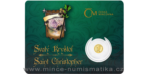 Zlatá mince Patroni - Svatý Kryštof