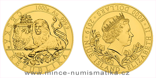 Zlatá kilogramová investiční mince Český lev 2019