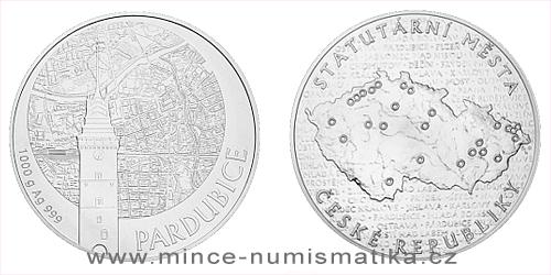 Stříbrná kilogramová investiční medaile Statutární město Pardubice