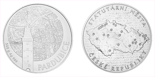 Stříbrná půlkilová investiční medaile Statutární město Pardubice