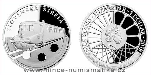 Stříbrná mince Na kolech - Vlaková souprava Slovenská strela