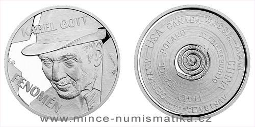 Stříbrná uncová číslovaná medaile Karel Gott - Fenomén