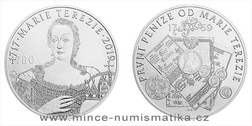 Stříbrná 10 Oz medaile První měnová reforma Marie Terezie