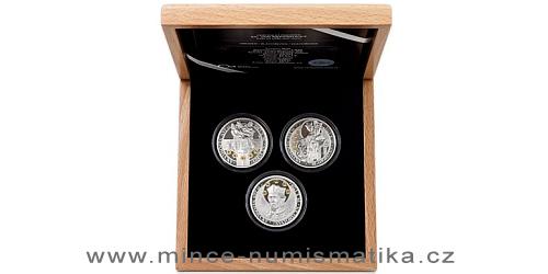 Sada tří stříbrných mincí Sv. Jan Nepomucký