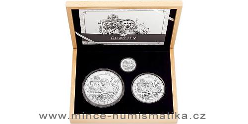 Sada stříbrných mincí Český lev - 2 Oz, 10 Oz, 1 kg