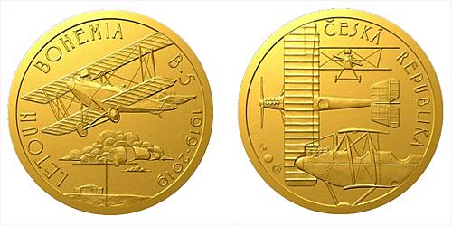 Zlatá půluncová medaile Sestrojení prvního letadla české výroby Bohemia B-5