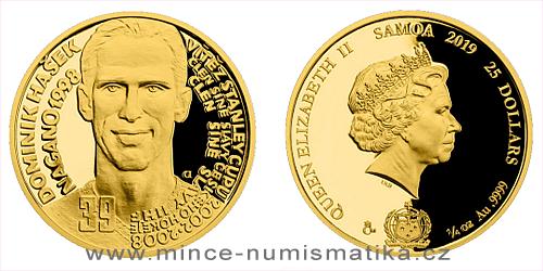 Zlatá čtvrtuncová mince Legendy čs. hokeje - Dominik Hašek