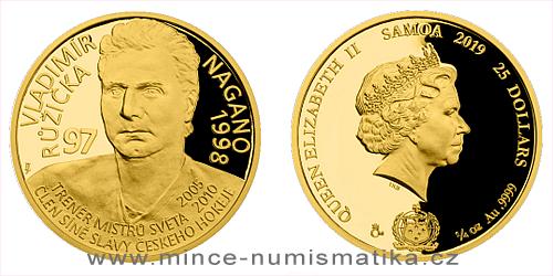 Zlatá čtvrtuncová mince Legendy čs. hokeje - Vladimír Růžička