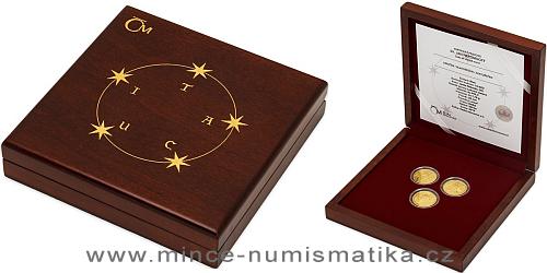 Sada tří zlatých mincí Sv. Jan Nepomucký