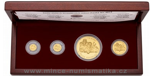 Sada zlatých mincí Český lev 2019 - 0,5g, 1/25 oz, 1/4 oz, 1 Oz